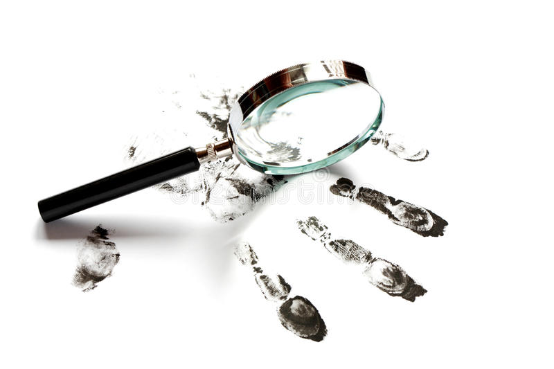 Download Fingerprints And Magnifying Glass Stock Image - Image: 35562019
