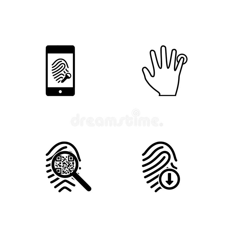 Fingerprints scaning and security theme EPS 10 vector format. Set outline icon EPS 10 vector format.  Transparent background. Fingerprints scaning and security stock photos