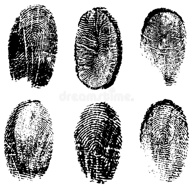 fingerprints vektorn royaltyfri illustrationer