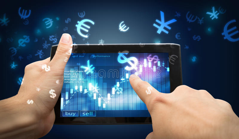 Fingerpunkt på investeringminnestavlan fotografering för bildbyråer