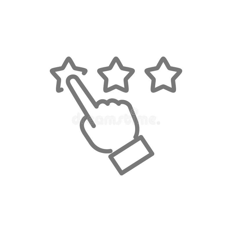 Fingerpunkt zu den Sternen, zum Kundenbericht, zur Bewertung, zum Feedback, zum Ansehen und zur Qualit?tslinie Ikone stock abbildung