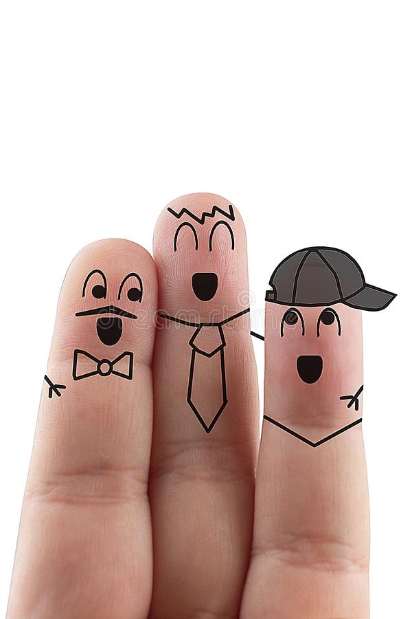 Fingers Friend isolated white background. Happy international friendship day.  royalty free stock images