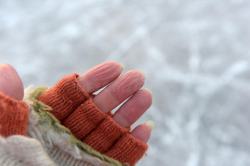 Fingers, frozen in the cold. The skin on the fingers, frozen in the cold stock photography