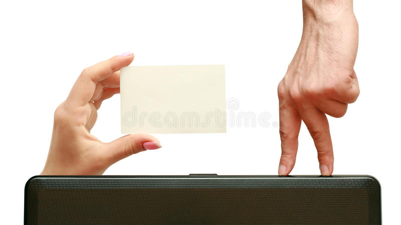 Download Fingers Go To A Business Card In Hand Stock Image - Image: 14463427
