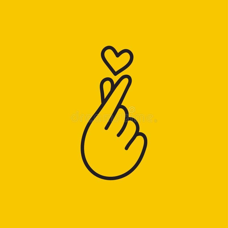 Fingers making small heart. Korean heart, love symbol, fingers making small heart, love icon, flying heart. Vector illustration vector illustration