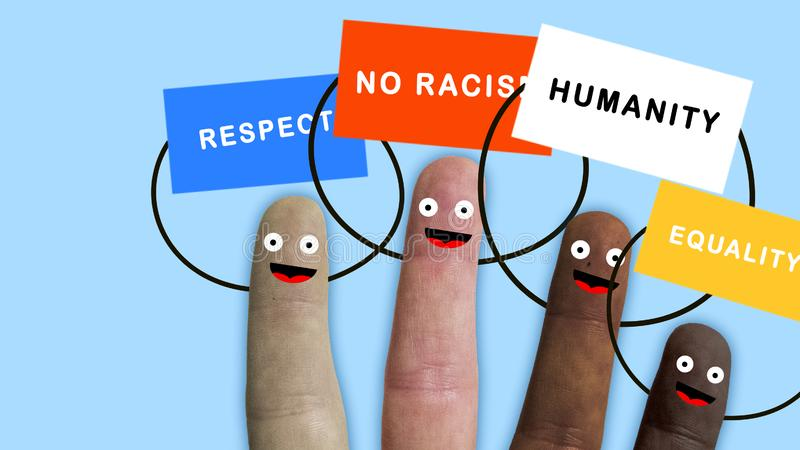 Fingers of one hand, of various ethnic groups manifest with banners, ideal footage to represent integration and racial. Problems, concept royalty free stock image