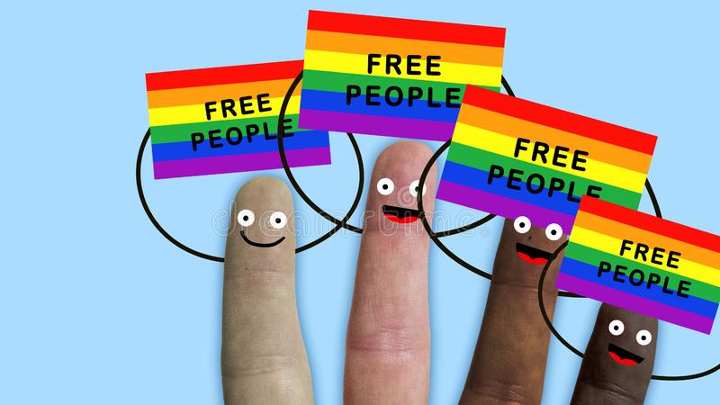 Fingers of one hand, of various ethnic groups manifest with rainbow flags, symbol for humanitarian and sexual rights. Ideal footage to represent integration stock image