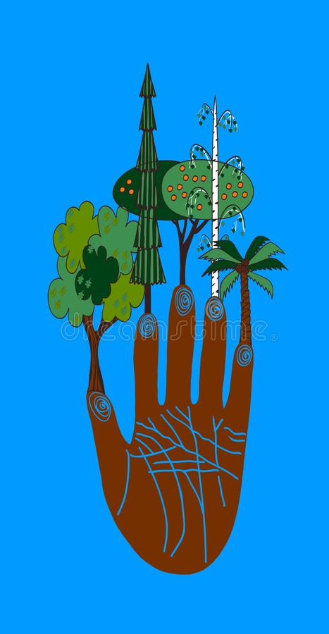 Fingers-trees. Hand silhouette . Hand white silhouette on a blue background. Fingers trees colored illustration. Illustration on ecology and environmental stock illustration