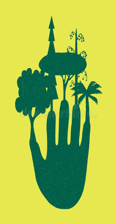 Fingers trees on a yellow background. Composition on the theme of ecology. Fingers trees on a yellow background vector illustration