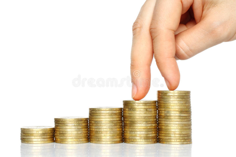 Download Fingers Walking Down On Stacks Of Coins Stock Photo - Image: 29367944