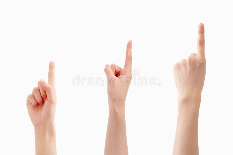 Fingerzeichen des Nummer Eins stockbilder