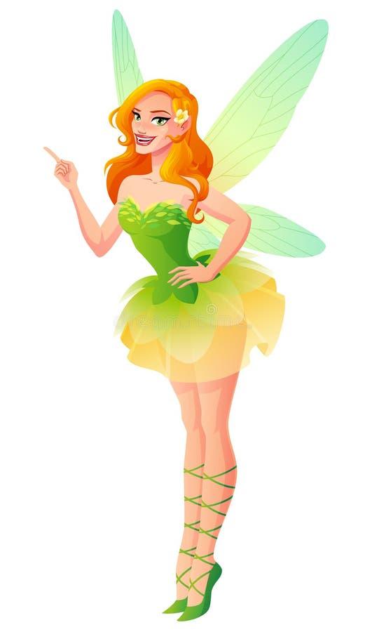 Fingrar den härliga gröna blom- fen för vektorn med vingar att peka upp vektor illustrationer
