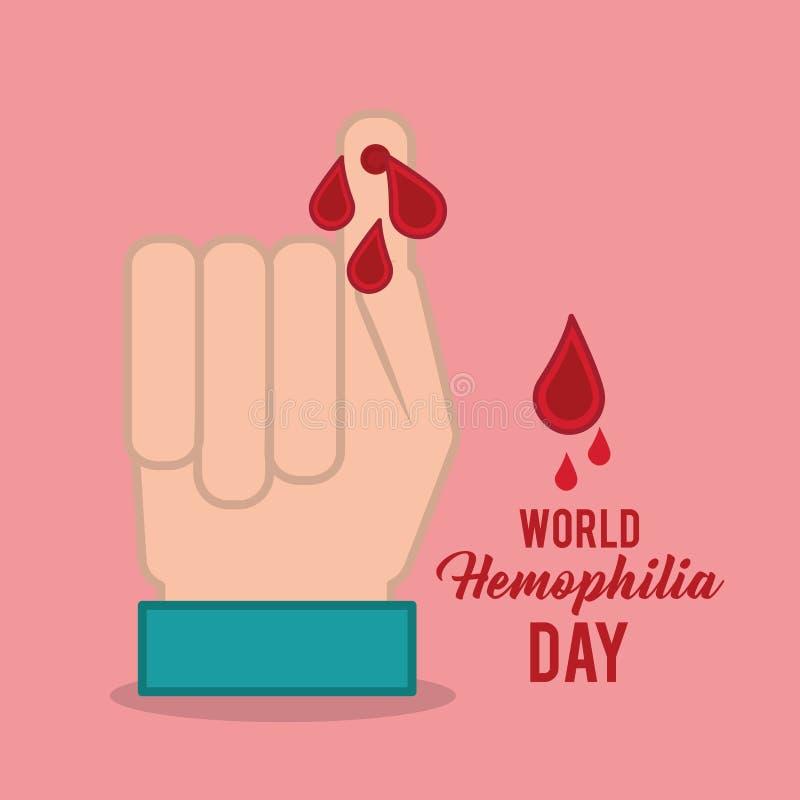 Fingret för handen för världsblödarsjukadagen med blod tappar vektor illustrationer