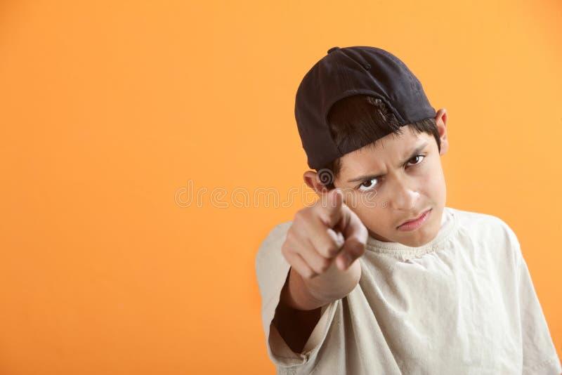 fingret pekar teen arkivfoto