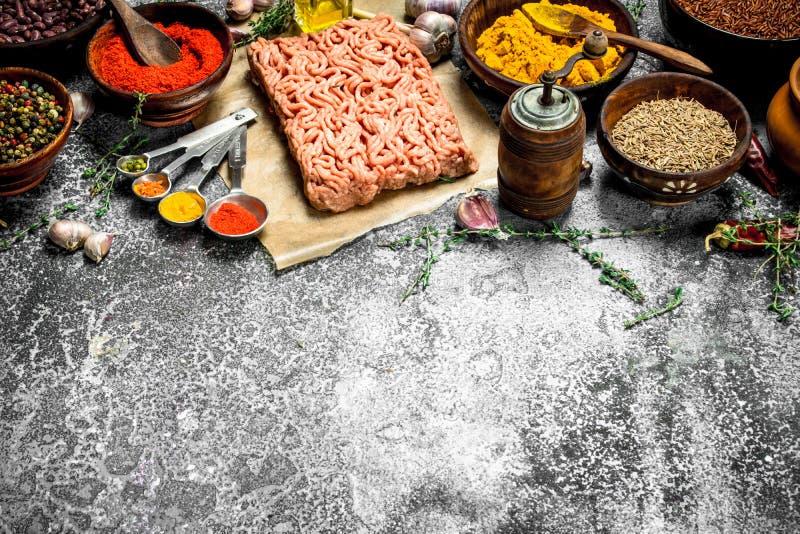 Finhackat nötkött med kryddor, aromatiska örter och olivolja arkivbilder