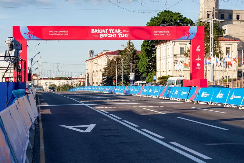 Minsk, Belarus, June 22, 2019: Finish of the distance of sports competitions in the 2ND EUROPEAN GAMES  in the city of Minsk. Finish of the distance of sports stock photography