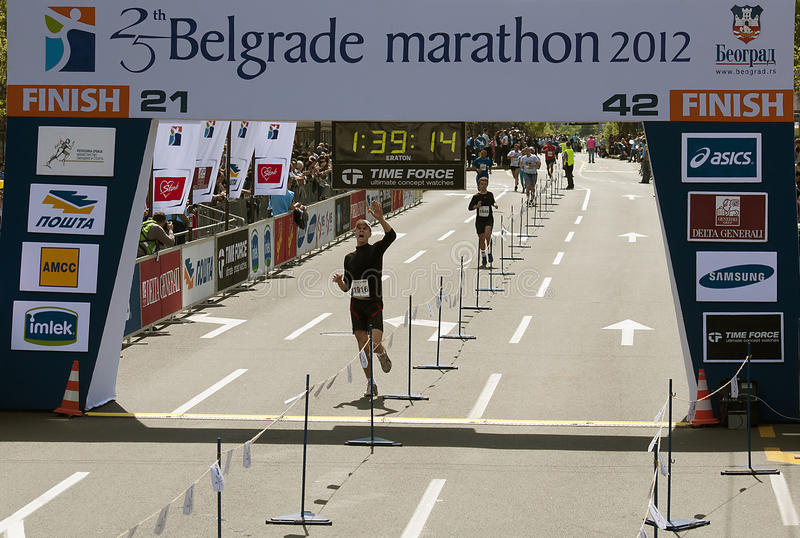 Download Finish on half marathon editorial photo. Image of international - 24447366