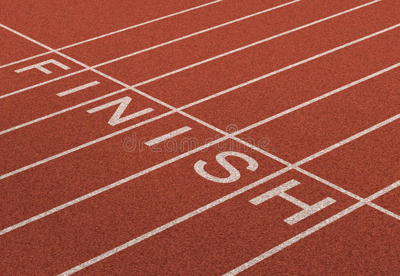 Finish Line. As a business symbol of success in completing a planned strategy to achieve victory and reach the goals of financial freedom and wealth as a track stock illustration