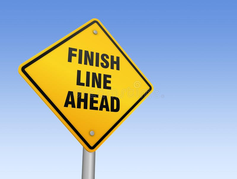 Finish line ahead road sign 3d illustration vector illustration