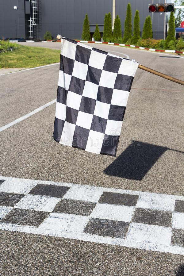 The finish line and checkered flag racing. finish the race.  royalty free stock photography