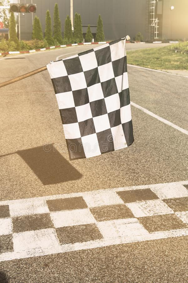 The finish line and checkered flag racing. finish the race.  stock images