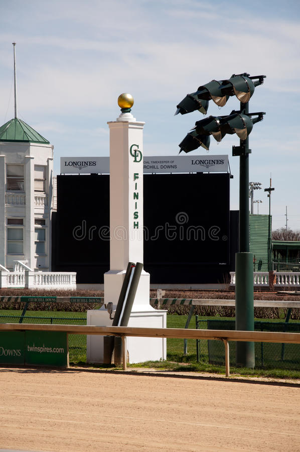 Finish line at Churchill Downs. The finish line at historic Churchill Downs in Louisville, Kentucky stock photo