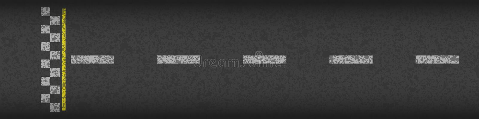Finish line racing background top view. Art design. Grunge textured on the asphalt road. Abstract concept graphic. Element. Vector illustration stock illustration