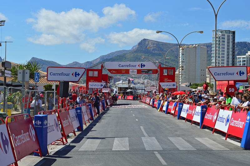 The Finish Line Of Stage 19 TT time Trial At La Vuelta España. The finish line of the time trial race stage 19 at La Vuelta España 2016 in Calpe Spain royalty free stock photo