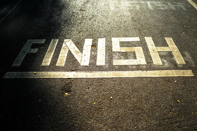 Finish line at sunset royalty free stock photography