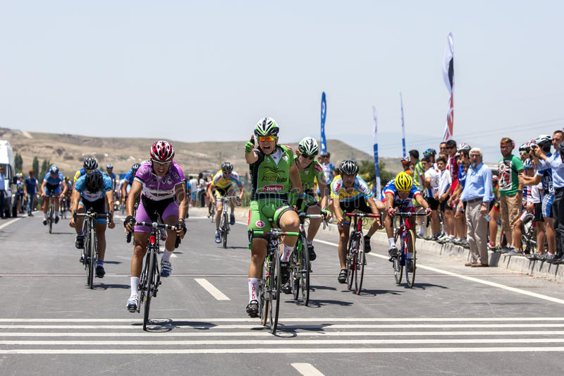 The finish of a race at the Turkish National Cycling Championships in Denizli, Turkey. stock photography