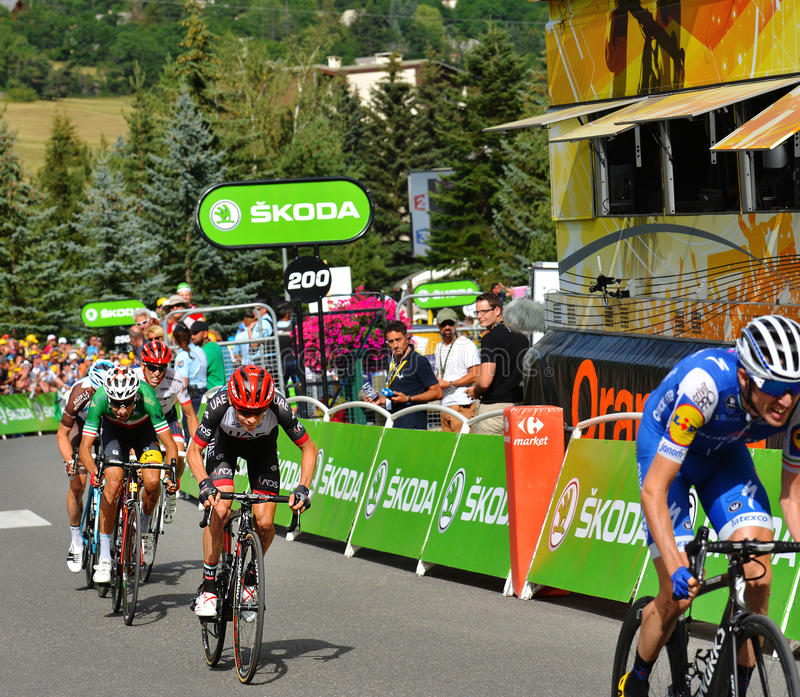 Finish of the Stage 17 in Serre Chevalier ,Tour de France 2017. SERRE-CHEVALIER , FRANCE - JULY 19, 2017. Finish of the Stage 17 in Serre Chevalier , route La royalty free stock photography