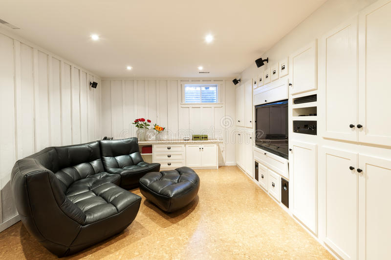 Finished basement in house royalty free stock photo