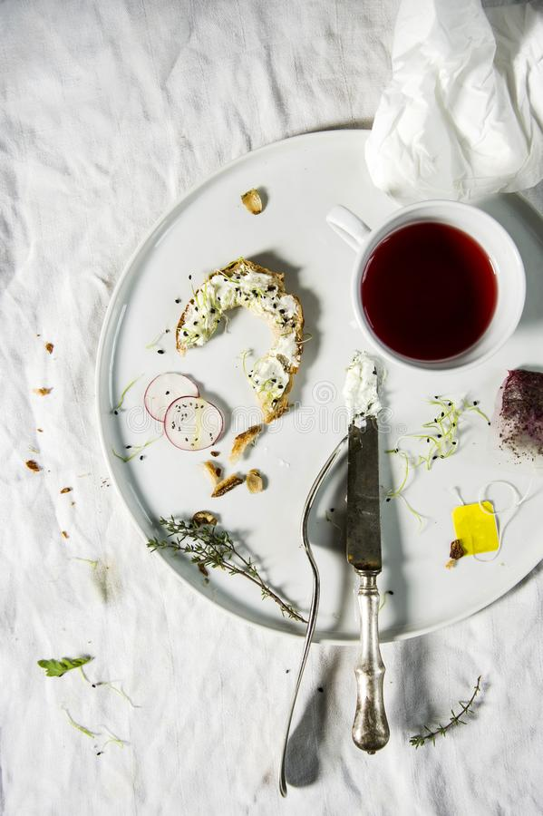 Finished breakfast oddments. royalty free stock image