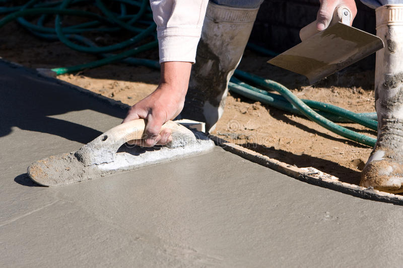 Finishing Concrete Sidewalk royalty free stock photography