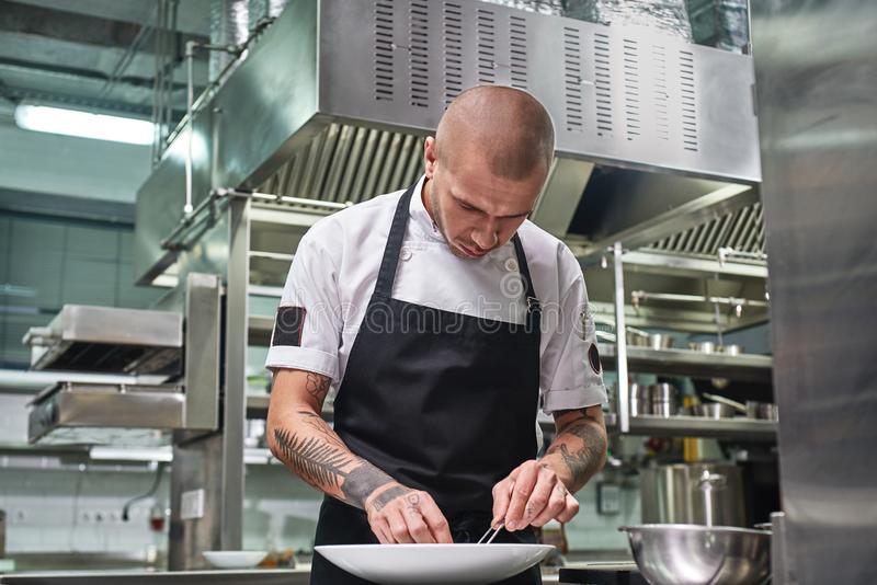 Finishing a dish. Attractive male chef with beautiful tattoos on his arms garnishing his dish on the plate in restaurant royalty free stock image