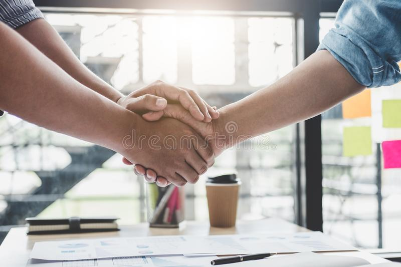 Finishing up a meeting, Business handshake after discussing good. Deal of Trading contract for both companies and gesturing people connection deal, Meeting and stock photos