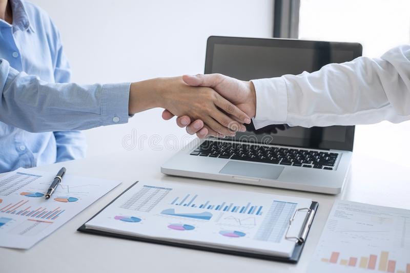 Finishing up a meeting, Business handshake after discussing good deal of Trading to sign agreement and become a business partner,. Contract for both companies stock images