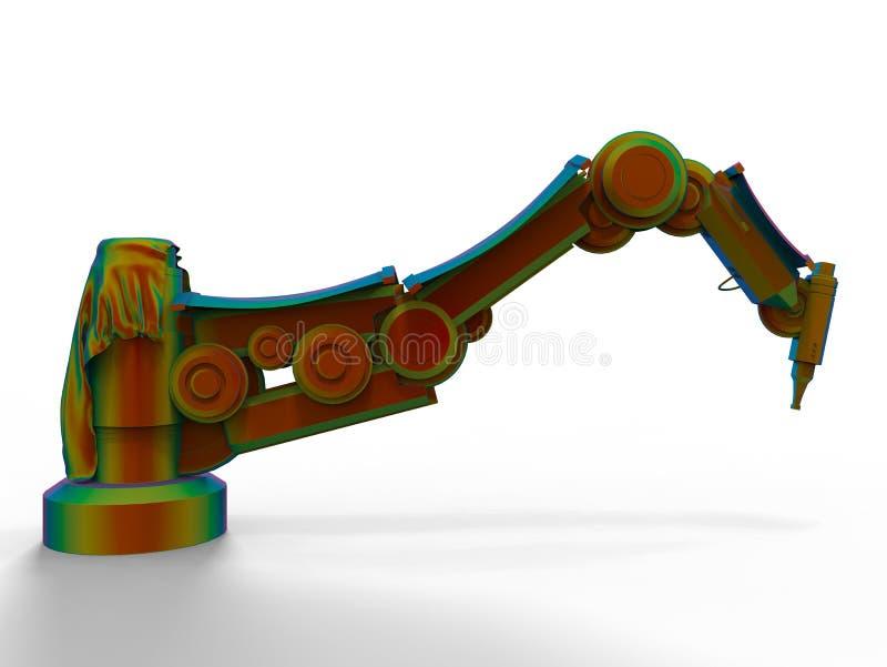Finit-Element-Methode auf einem Industrieroboter lizenzfreie abbildung