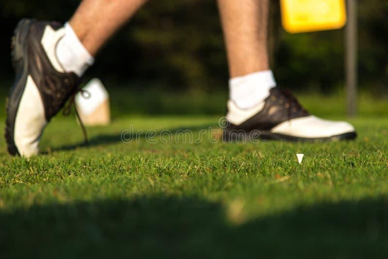 Finition d'oscillation de golf photographie stock