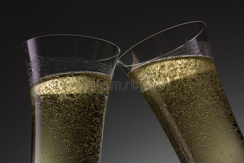 Finkachampagneexponeringsglas fotografering för bildbyråer