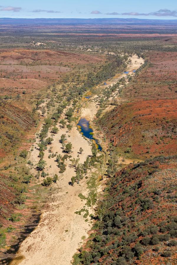 The Finke River cutting its way through the West MacDonnell Ranges stock photography