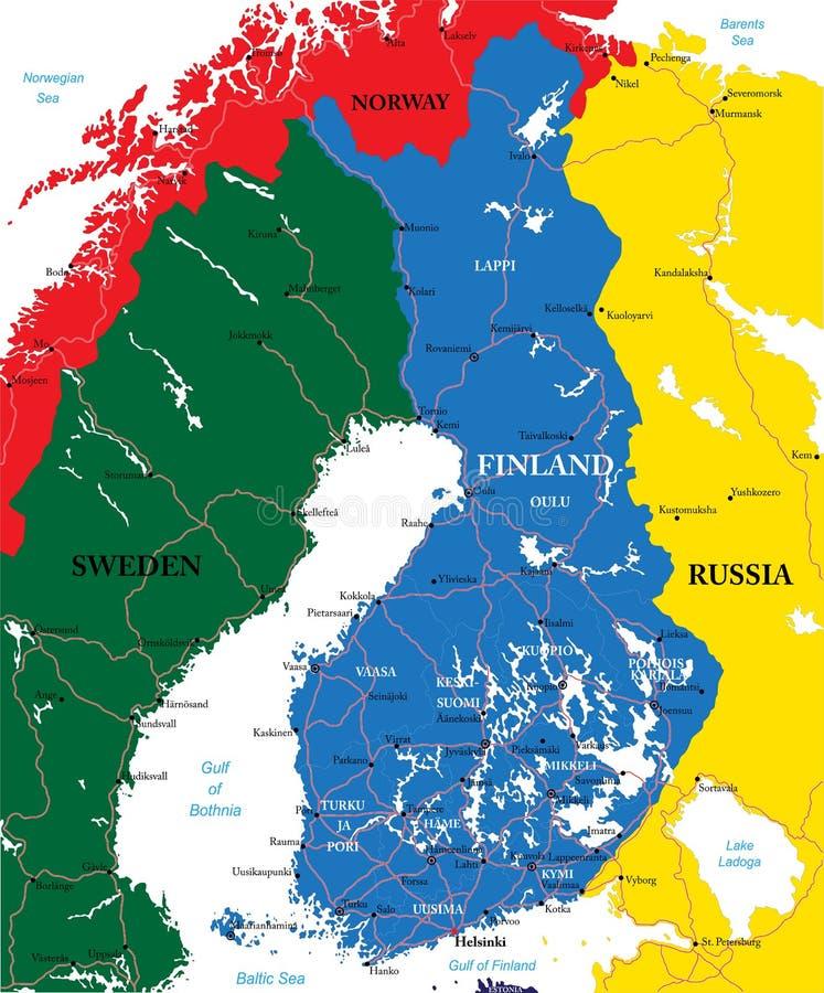 Finland översikt royaltyfri illustrationer
