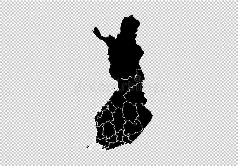 Finland översikt - detaljerad svart översikt för höjdpunkt med län/regioner/stater av Finland Finland översikt som isoleras på ge vektor illustrationer