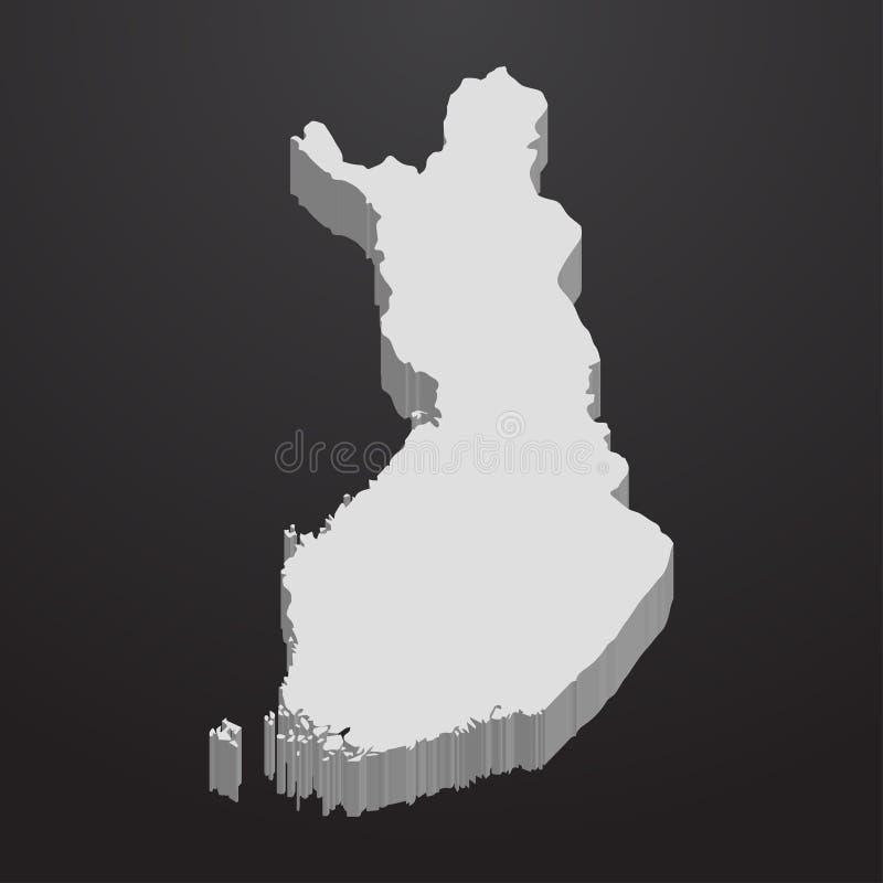 Finland översikt i grå färger på en svart bakgrund 3d vektor illustrationer