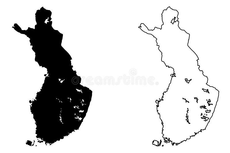 Finland översiktsvektor stock illustrationer