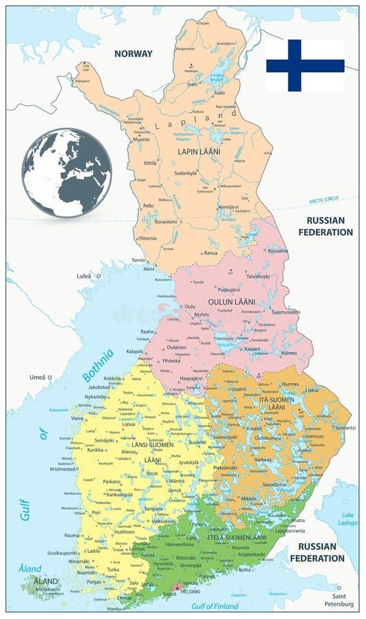 Finland administrativ översikt royaltyfri illustrationer