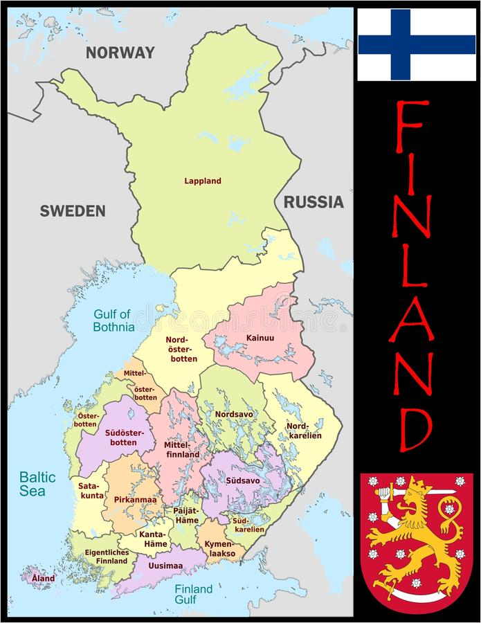 Finland Administrative Divisions Stock Illustration Illustration