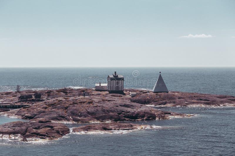 Finland Aland, buitenmariehamn is de oude proefpost Kobba Klintar Nu dagen is er een museum op het eiland stock fotografie