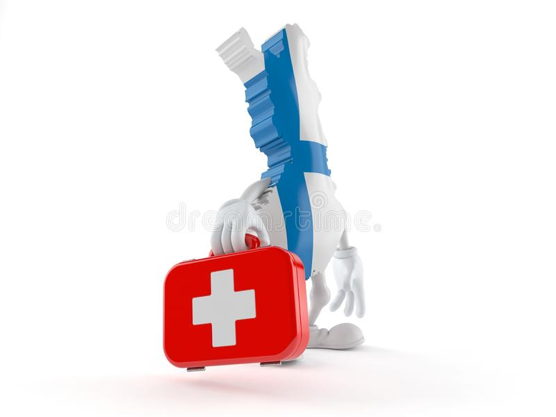 Finland character holding first aid kit royalty free illustration