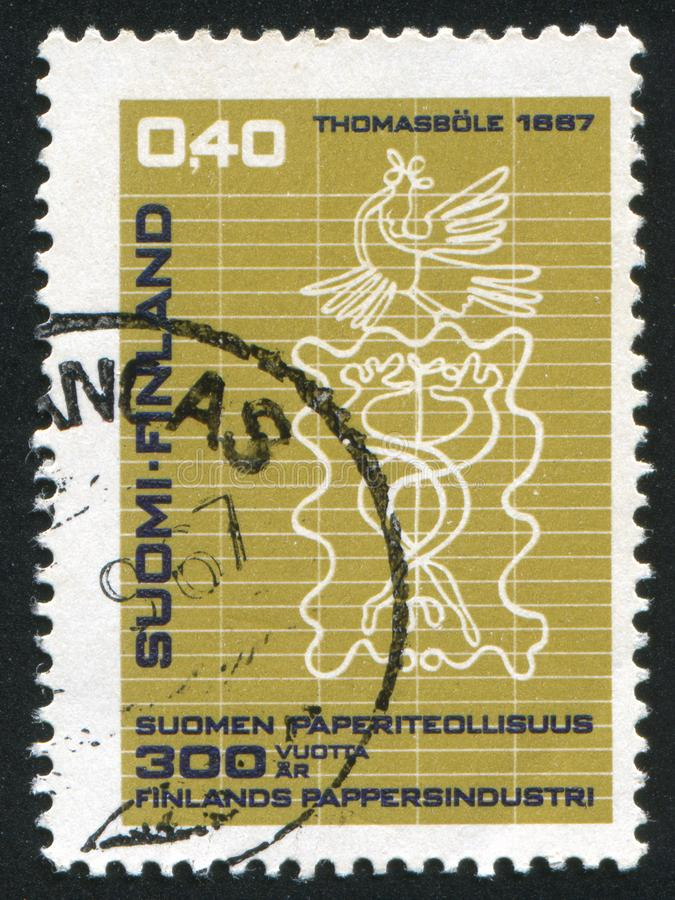 Watermark. FINLAND - CIRCA 1967: stamp printed by Finland, shows Watermark of Thomasbole Paper Mill, circa 1967 royalty free stock image